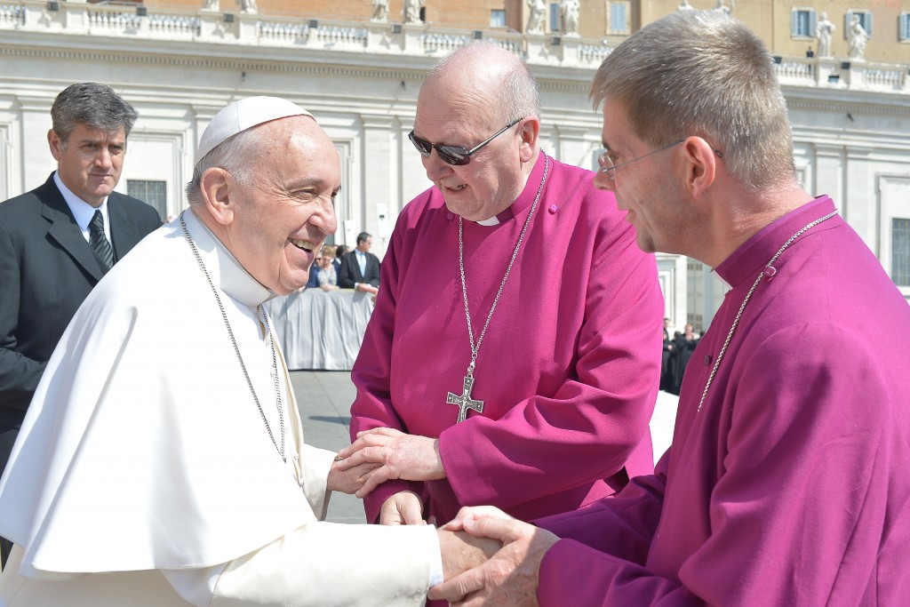 Bishop John and John Flack with Pope 15042015