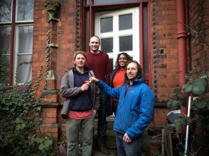 Getting the keys to Matt's House: pictured left to right are Martin King [resident], Sam Donaldson [YFC], Anna and Chris Hembury [CMS].