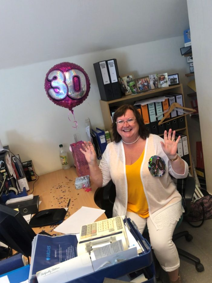 Suzanne Rodgers celebrates 30 years of working for the Diocese of Peterborough!